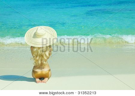 Beautiful Woman On Beach