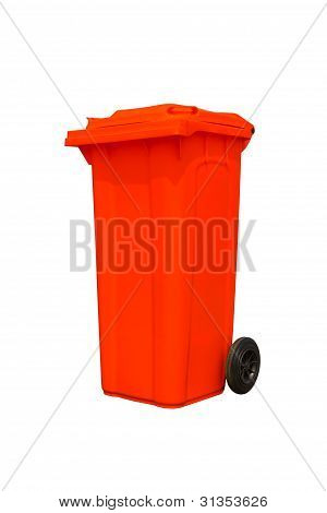 Large Red Trash Can