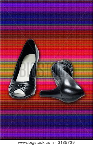 Women'S Black Leather High-Heeled Shoes