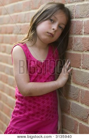 Sad Girl Brick Wall