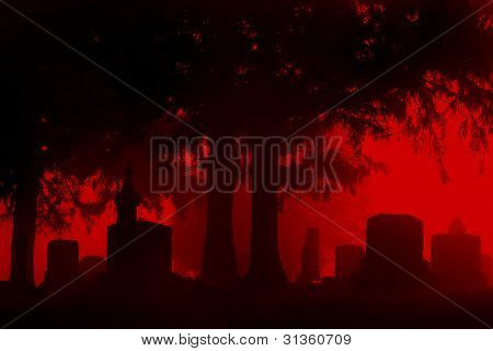 Spooky cemetery with silhouettes stones
