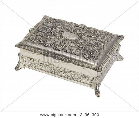 Vintage Silver Finish Jewelry Box