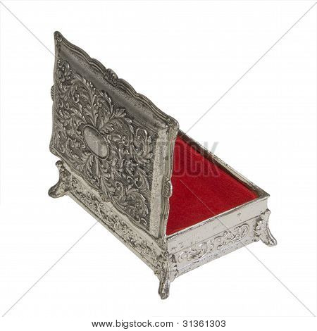 Vintage Silver Finish Jewelry Box With Red Lining