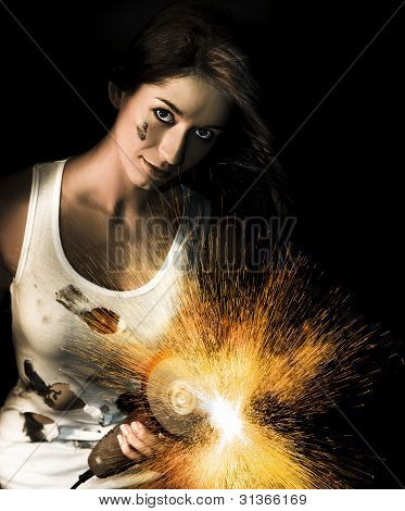 Woman With Angle Grinder Spraying Sparks