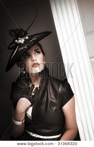 Elegant Woman Wearing Black Vintage Fashion