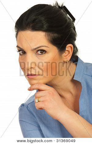 Serious Executive Woman Looking You