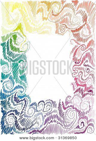 floral rainbow hand-drawn frame