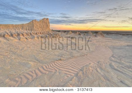 Clay Pinnacle And Erosion Patterns In Mungo National Park