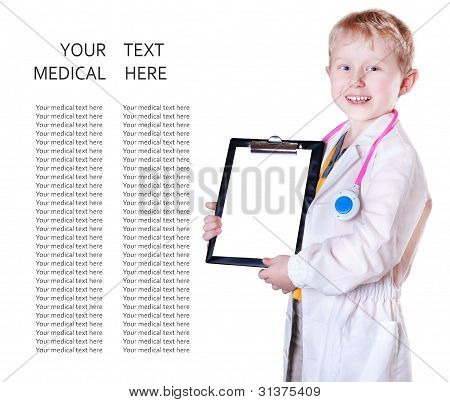 Little Doctor Portrait With Medical Card