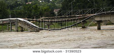 Bridge destroyed by a flood