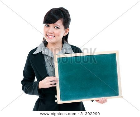 Young Businesswoman Holding Blackboard