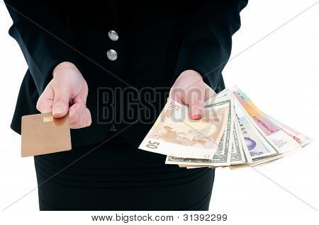 Holding Credit Card And Cash