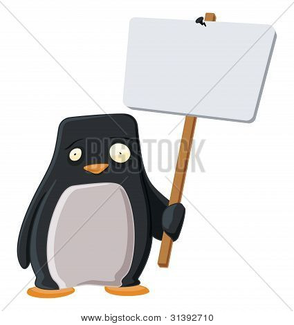 Worried Penguin with a Sign