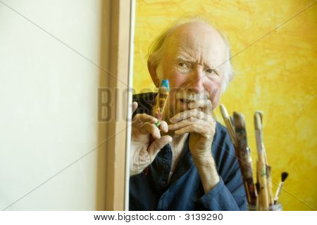 Artist At A Canvas
