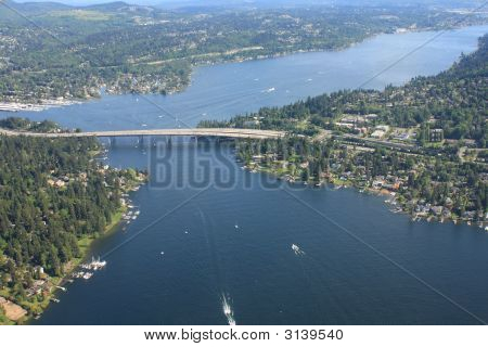 Aerial View Of Seattle Bridge