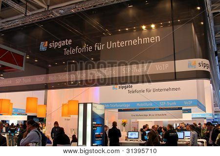Hannover, Germany - March 10: Stand Of Sipgate On March 10, 2012 In Cebit Computer Expo, Hannover, G