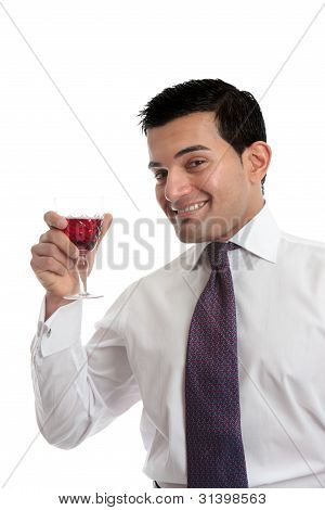 Man Raising A Glass Of Wine