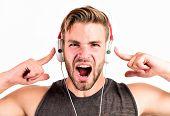 Man In Headphones. Relax Playlist. Sexy Muscular Man Listen Music From Playlist. Man Relax In Earpho poster