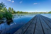 Beautiful Scenery. Lake Of The Woods, Water Lilies On The Water And Wooden Walkways. Beautiful Natur poster