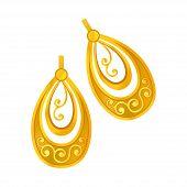 Pair Of Gold Earrings. Vector Illustration On White Background. poster