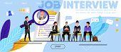 Job Interview, Recruitment. Website, Landing Page. Candidates, Men, Women Waiting Job Interview. Hea poster