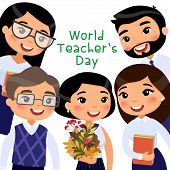 World Teachers Day Flat Vector Banner Template. Cheerful Asian Teachers And Pupils Celebrating Inter poster