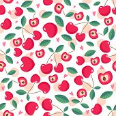 Drawing Red Cherry Seamless Pattern Background Wallpaper. Cute Red Seamless Pattern With Cherries. S poster