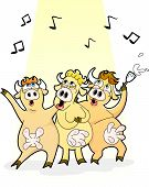 foto of moo-cow  - three funny cartoon cows singing happily and drinking milk - JPG