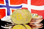Concept For Investors In Cryptocurrency And Blockchain Technology In The Norway And Denmark. Bitcoin poster