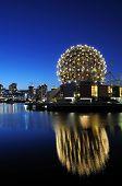 foto of geodesic  - geodesic dome of science world vancouver night scene - JPG