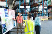 Front view of diverse warehouse staffs discussing over whiteboard in warehouse. This is a freight tr poster