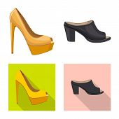 Vector Illustration Of Footwear And Woman Symbol. Collection Of Footwear And Foot Vector Icon For St poster