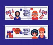 English Language Learning With Native Speaker Vector Illustration. English Language Education Online poster