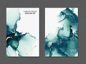 Marble Card Presentation, Flyer,  Invitation Card Template Design, Green, Blue Tender Decoration Iso poster