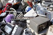 stock photo of discard  - Piles of home electronics for recycling ecology - JPG