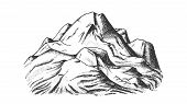 Snow Covering Mountain Landscape Hand Drawn . Hill Crest Mountain Place For Extreme Sport Ski-alpini poster