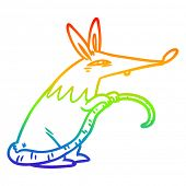 rainbow gradient line drawing of a sneaky rat poster