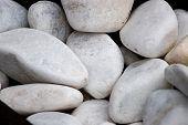 White Stones, White Background, White Decorative Stones, Aquarium Stones, Stones For The Garden poster