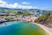 Gates Portao, Idyllic Holiday Beach Praia And Azure Turquoise Bay Baia Do Porto Pim, Red Roofs Of Hi poster