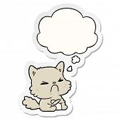 cartoon angry cat with thought bubble as a printed sticker poster