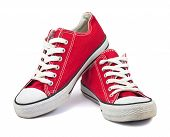image of shoe  - Old vintage red shoes on white background - JPG