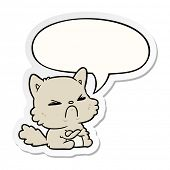 cute cartoon angry cat with speech bubble sticker poster