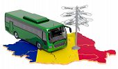 Romania Bus Tours Concept. 3d Rendering Isolated On White Background poster
