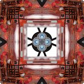 Seamless Symmetrical Pattern Abstract Rusty Metal Element Texture poster