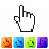Black Pixel Hand Cursor Icon Isolated On White Background. Pointer Hand Cursor. Set Icon In Color Sq poster