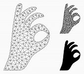 Mesh Ok Gesture Model With Triangle Mosaic Icon. Wire Carcass Triangular Mesh Of Ok Gesture. Vector  poster