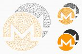 Mesh Monero Coins Model With Triangle Mosaic Icon. Wire Frame Polygonal Mesh Of Monero Coins. Vector poster