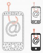 Mesh Smartphone Email Phishing Model With Triangle Mosaic Icon. Wire Frame Polygonal Mesh Of Smartph poster