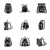 Tourist Backpack Icon Set. Simple Set Of 9 Tourist Backpack Vector Icons For Web Design Isolated On  poster