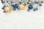 Blue, Golden And Silver Christmas Border. Xmas Composition With Snowy Green Fir Branch, Gold Stars,  poster